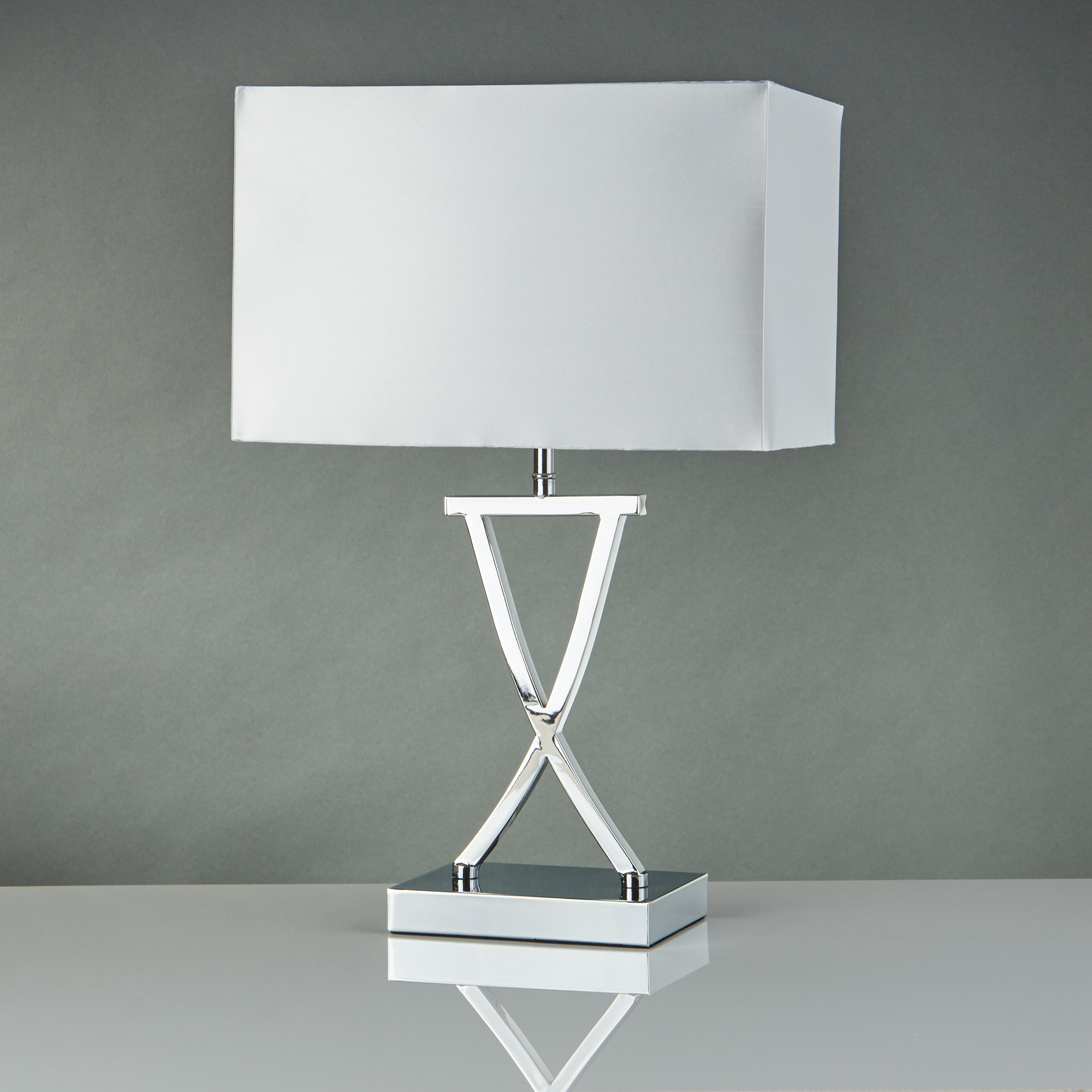Tnl Club Table Lamp X Base Chrome White Rectangle Shade The Northey Lights