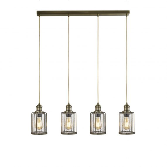 Pipes 4 Light Ceiling Pendant Antique Brass